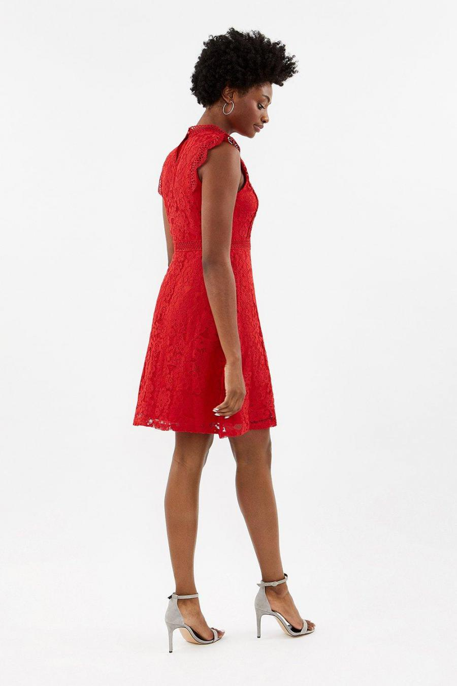 Coast A Line Dresses | Womens A-Line Lace Trim Sleeve Short Dress Red