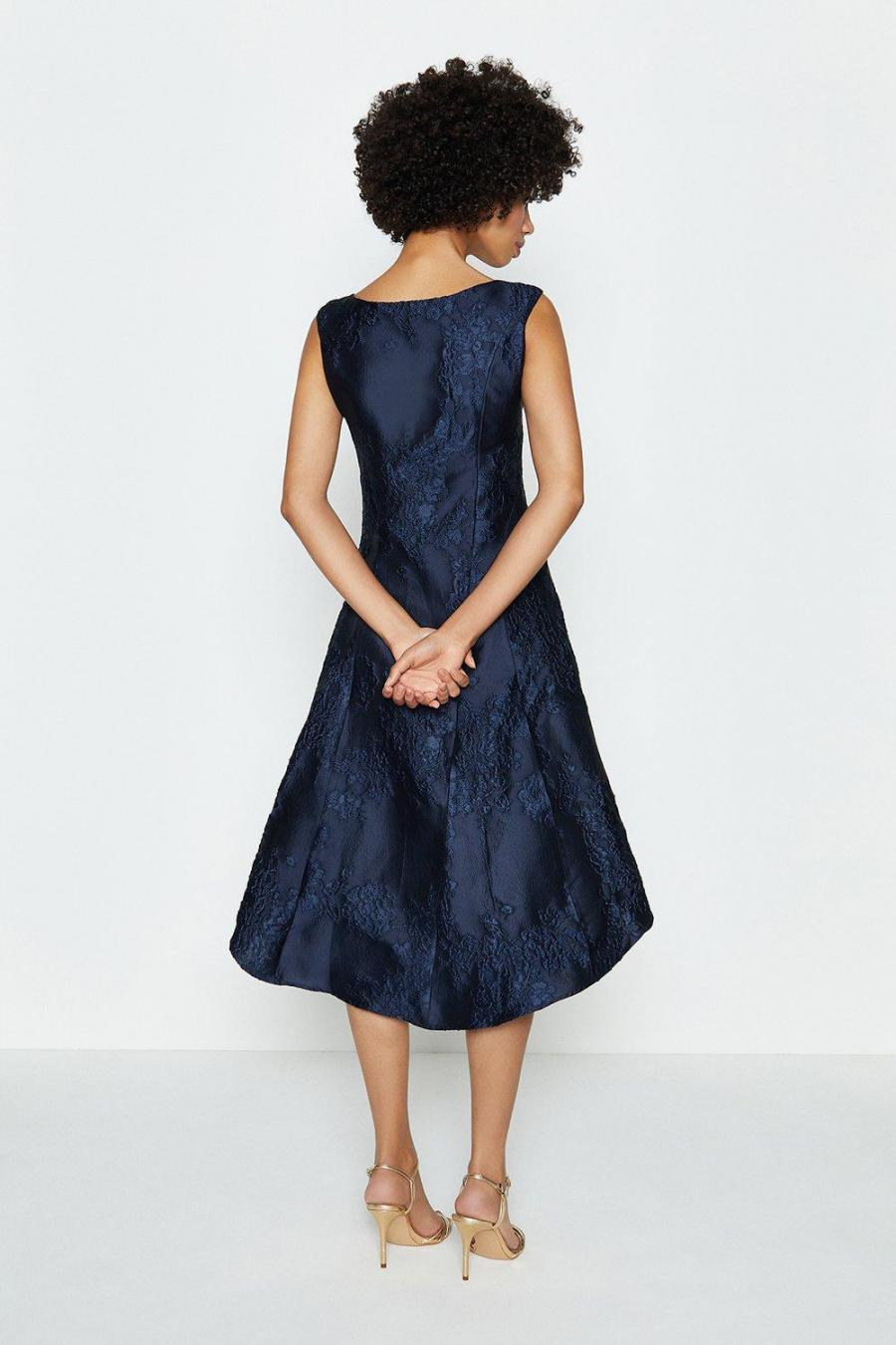 Coast A Line Dresses | Womens Jacquard Twist Seam Dress Navy