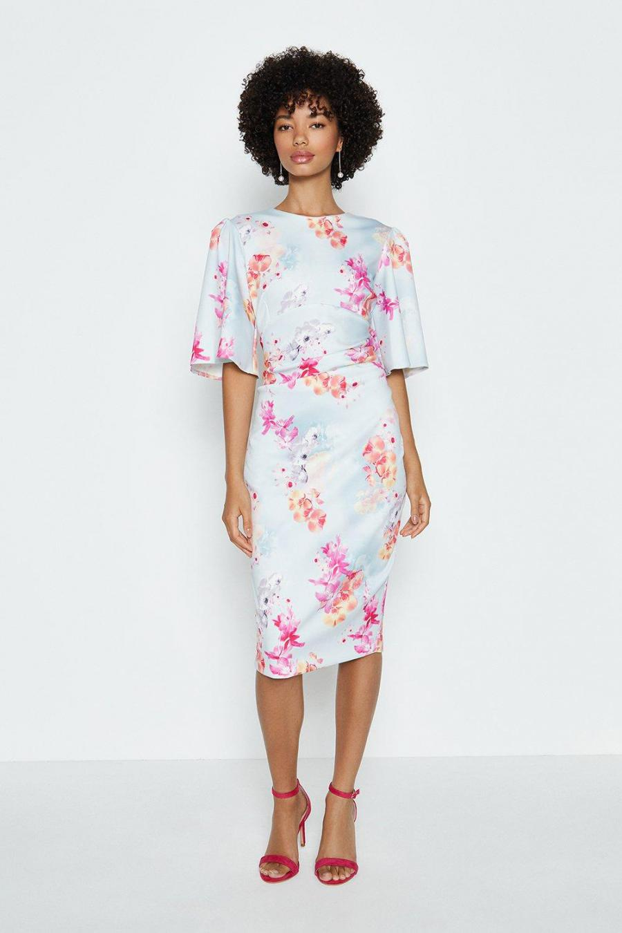 Coast Bodycon Dresses | Womens Printed Flare Sleeve Scuba Dress Multi