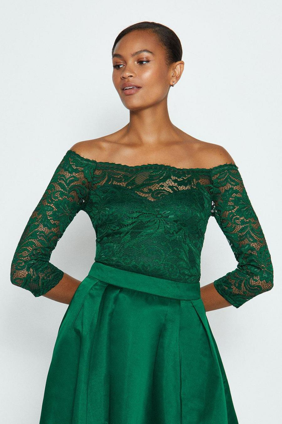 Coast Bodysuits | Womens Off the Shoulder 3/4 Sleeve Lace Body Forest