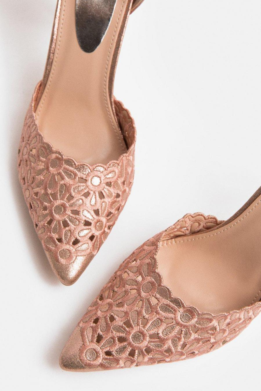 Coast Court | Womens Laser Cut Embroidered Pointed Heel Pink
