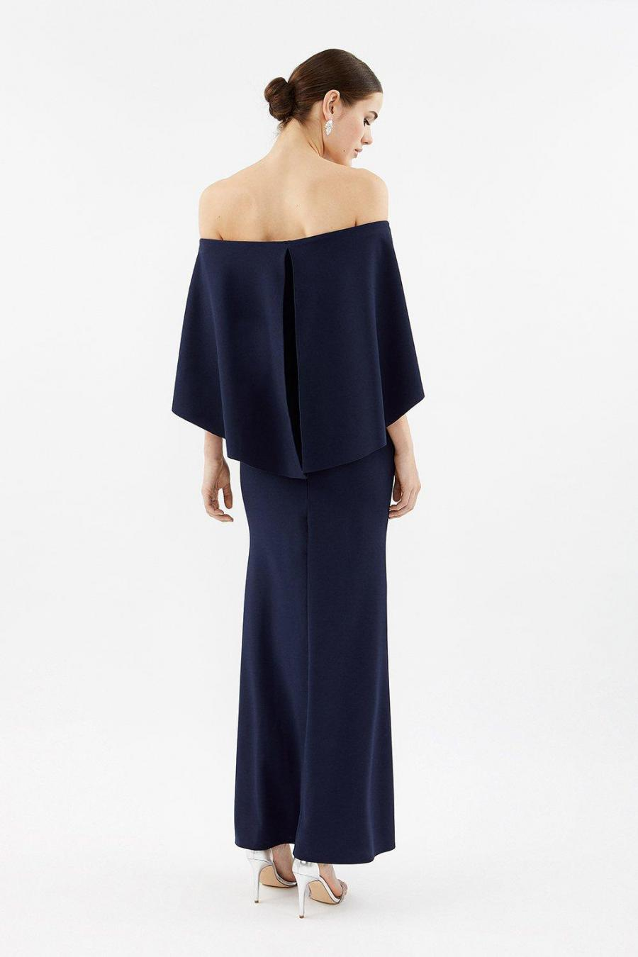 Coast Maxi Dresses | Womens Bardot Caped Maxi Dress Navy