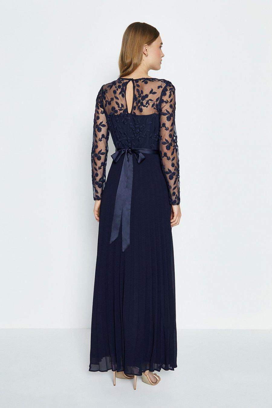 Coast Maxi Dresses | Womens Embroidered Long Sleeve Maxi Dress Navy