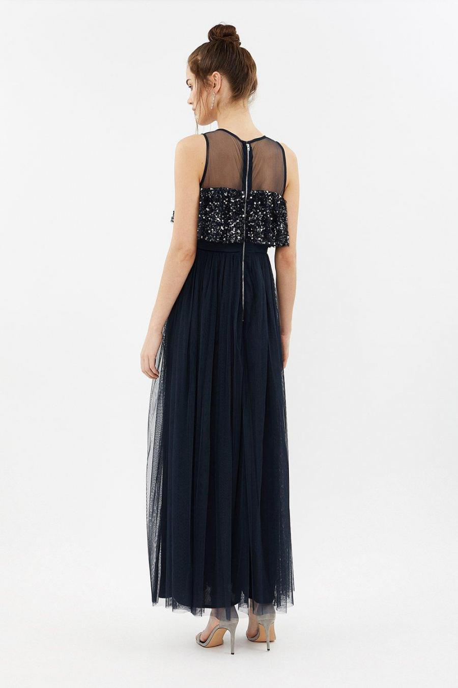 Coast Maxi Dresses | Womens Sequin Tulle Frill Bodice Maxi Dress Navy