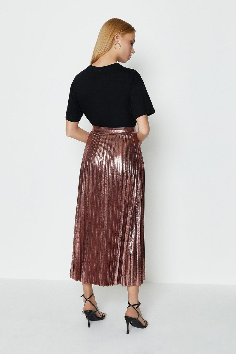 Coast Maxi Skirts | Womens Metallic Pleated Skirt Rose Gold