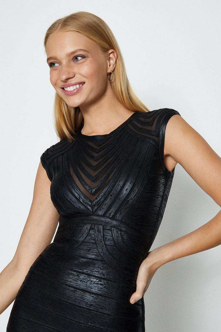 Coast Midi Dresses | Womens Bandage Metallic Body Con Dress Black