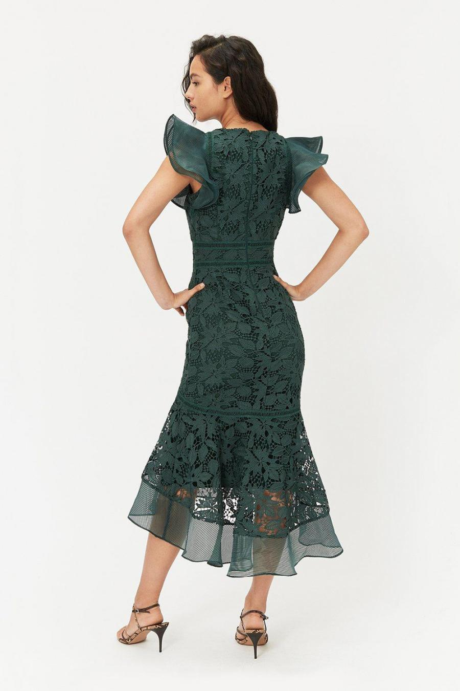 Coast Midi Dresses   Womens Floral Lace Frill Sleeve Dress Forest