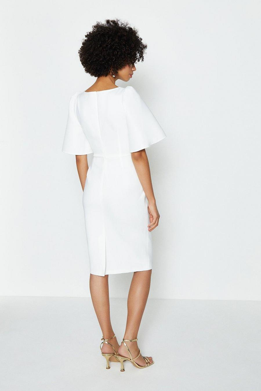 Coast Midi Dresses | Womens Square Neck Flare Sleeve Dress Ivory