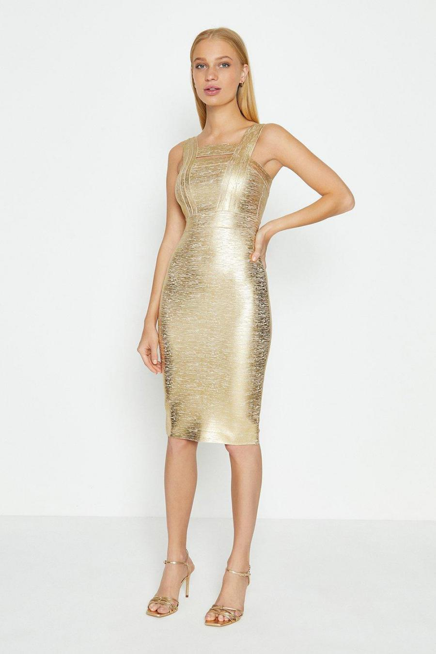 Coast Midi Dresses | Womens Square Neck Metallic Dress Gold