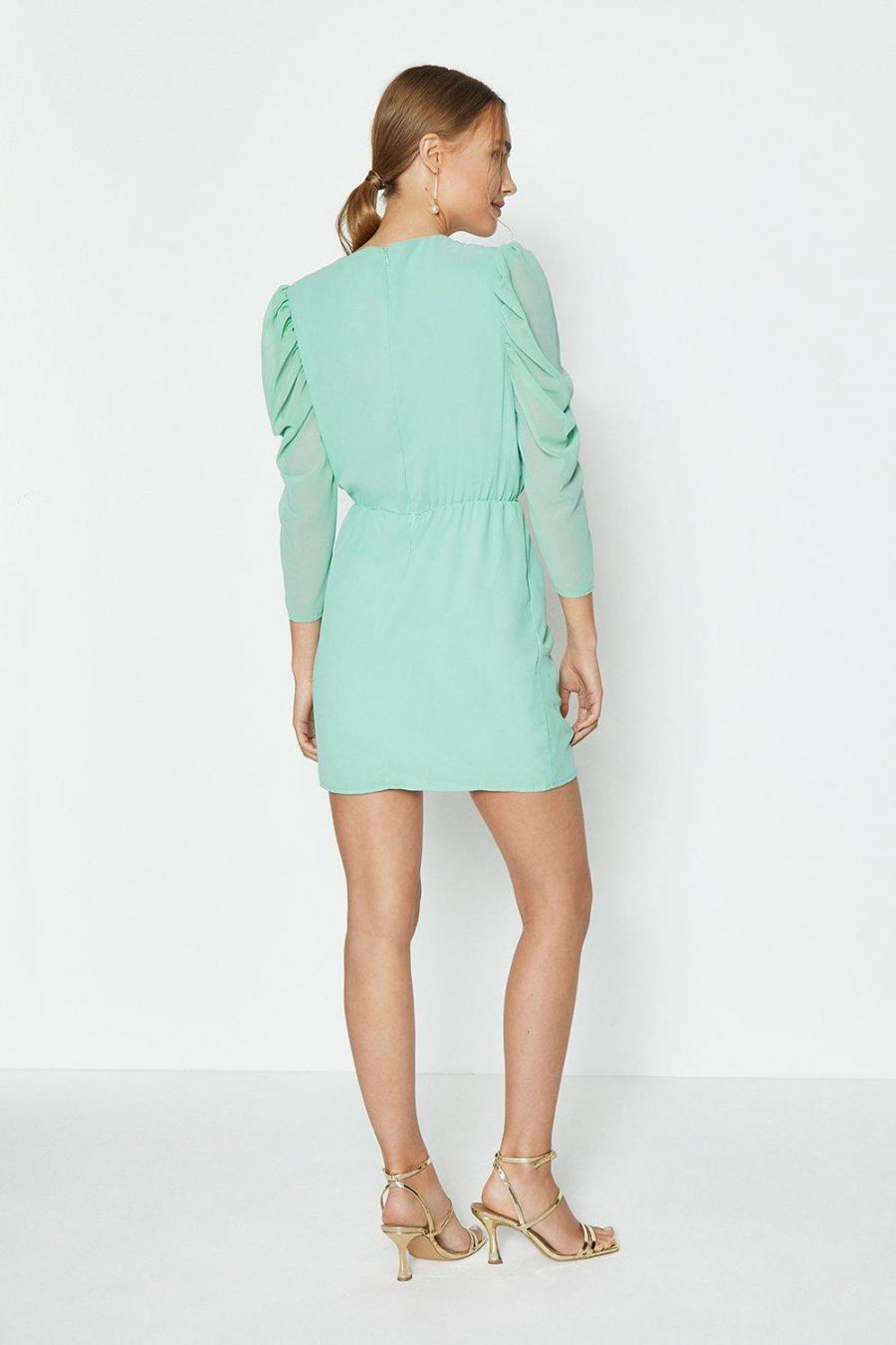 Coast Mini Dresses | Womens Ruffle Front Chiffon Mini Aqua