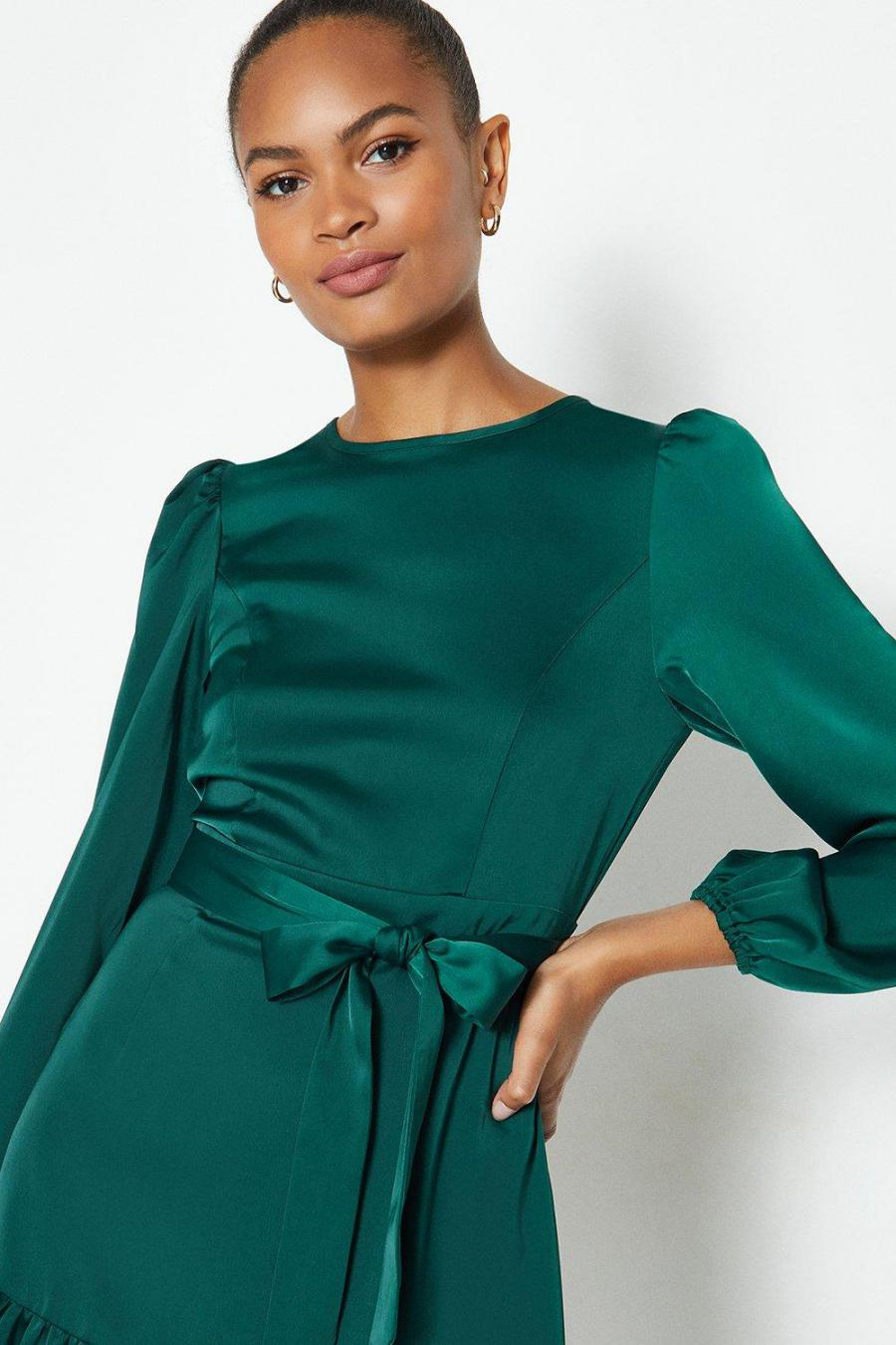 Coast Mini Dresses | Womens Ruffle Hem Tie Waist Dress Teal