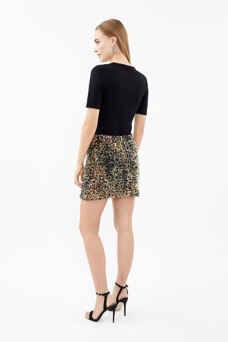 Coast Mini Skirts | Womens Sequin Mini Skirt Black