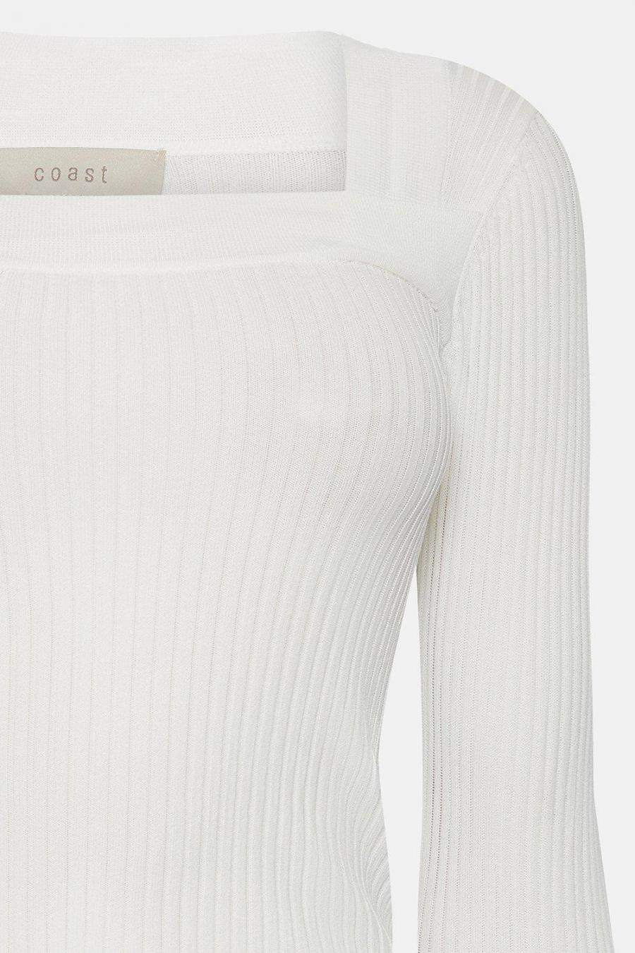 Coast Off The Shoulder | Womens Square Neck Knitted Top Ivory