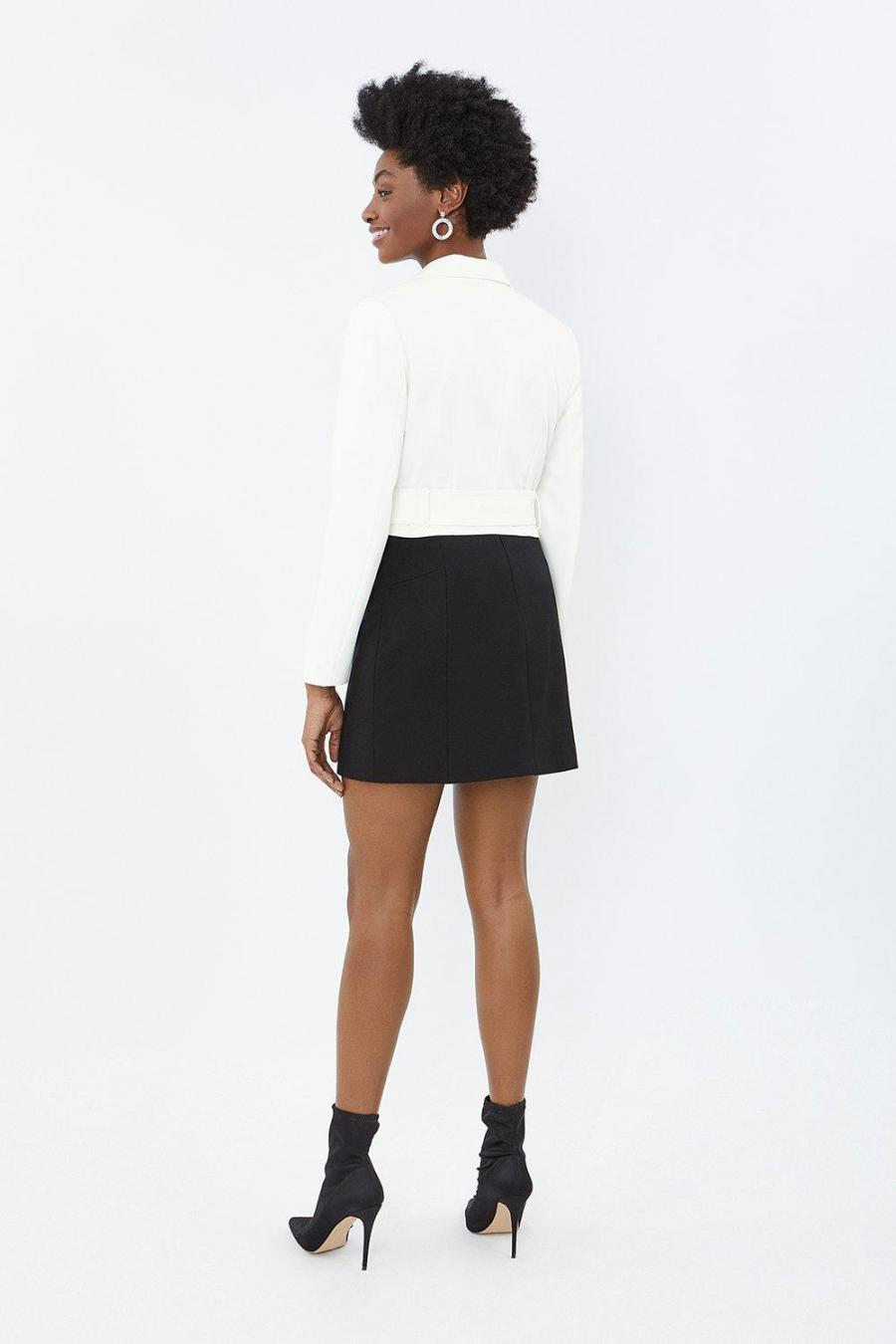 Coast Outerwear | Womens Crepe Cropped Belted Jacket Ivory