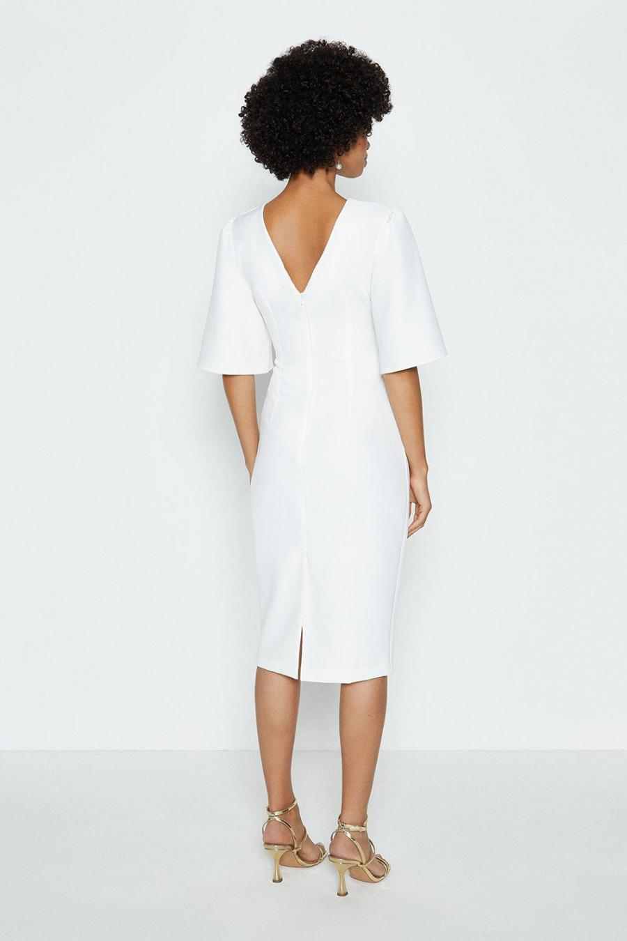 Coast Pencil Dresses | Womens Flare Sleeve Crepe Dress Ivory
