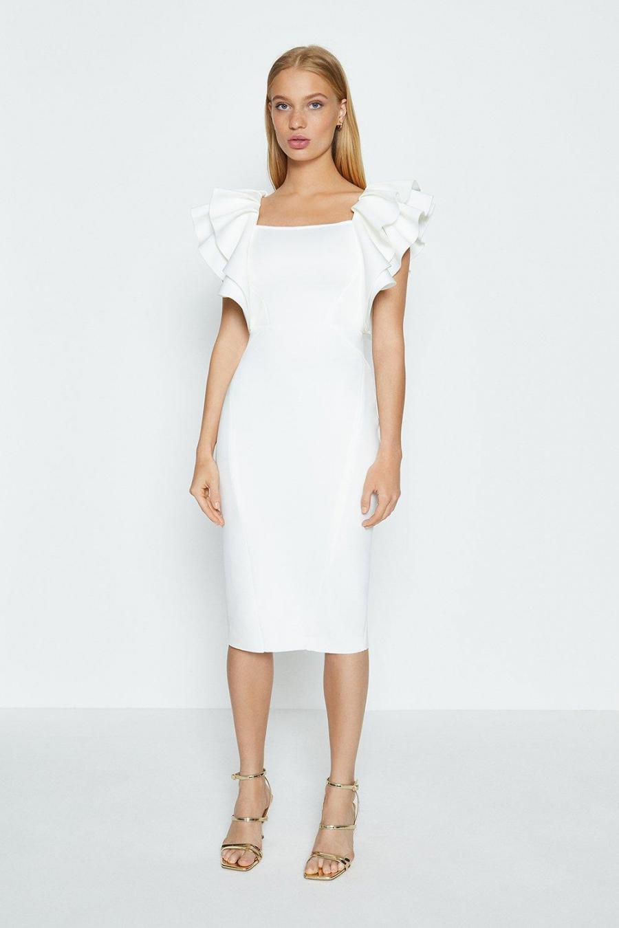 Coast Pencil Dresses | Womens Square Neck Ruffle Shoulder Midi Dress Ivory