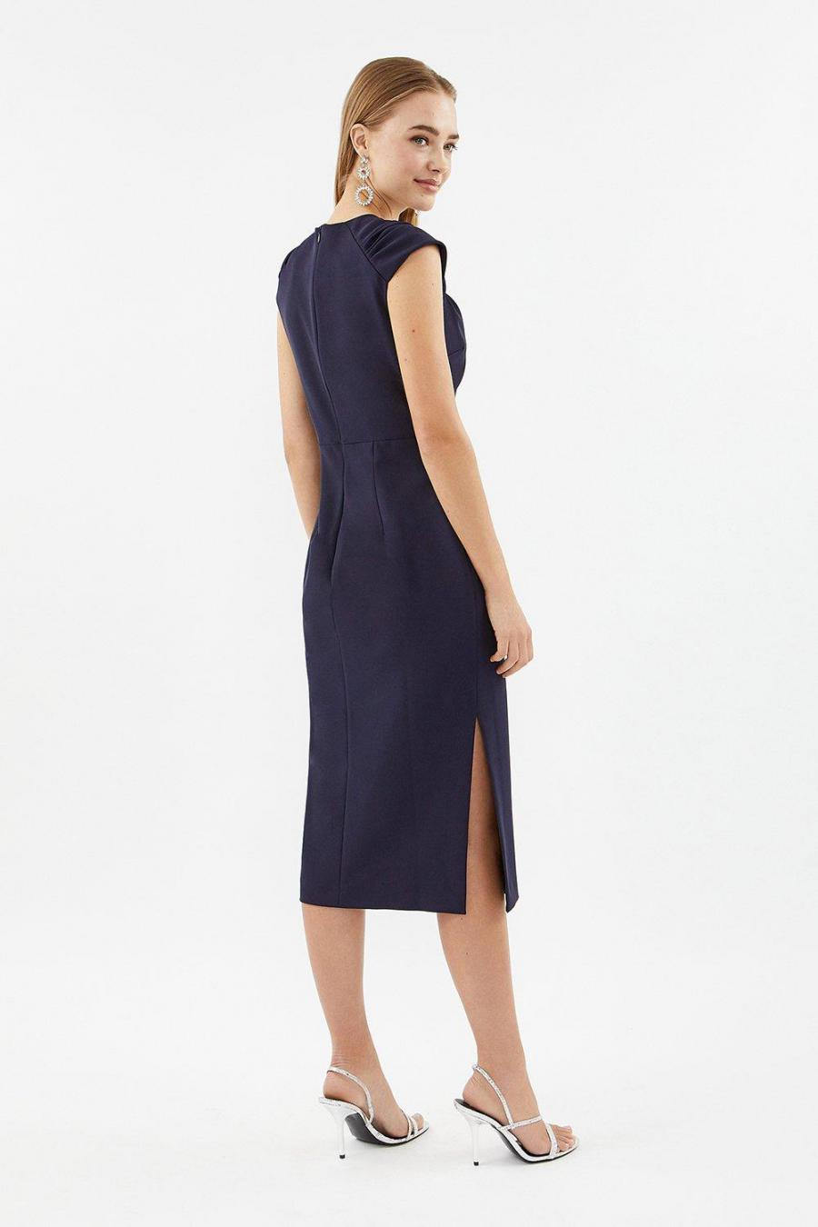 Coast Pencil Dresses | Womens Sweetheart Neck Shift Midi Dress Navy