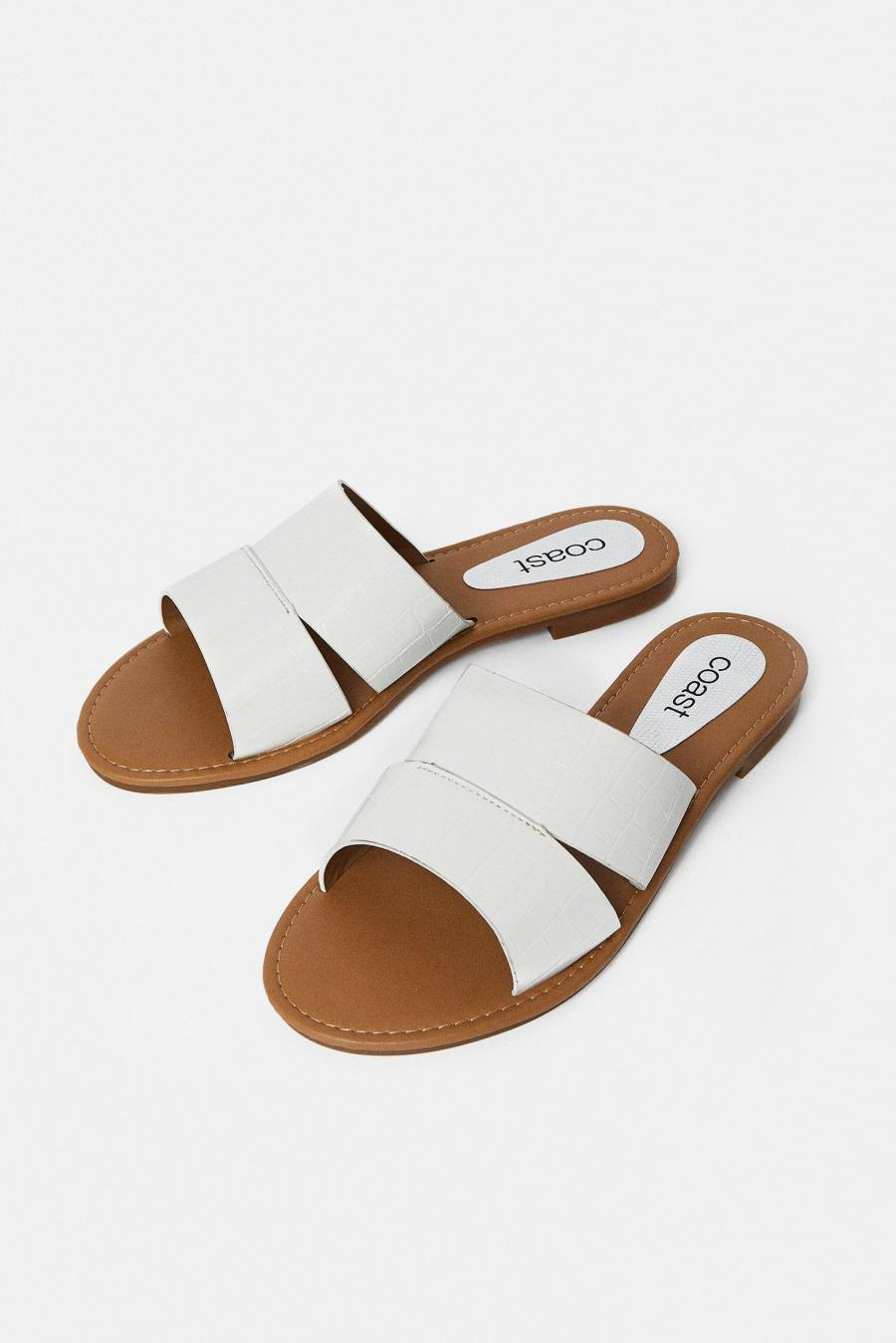 Coast Sandals | Womens 2-Strap Flat Sandal White