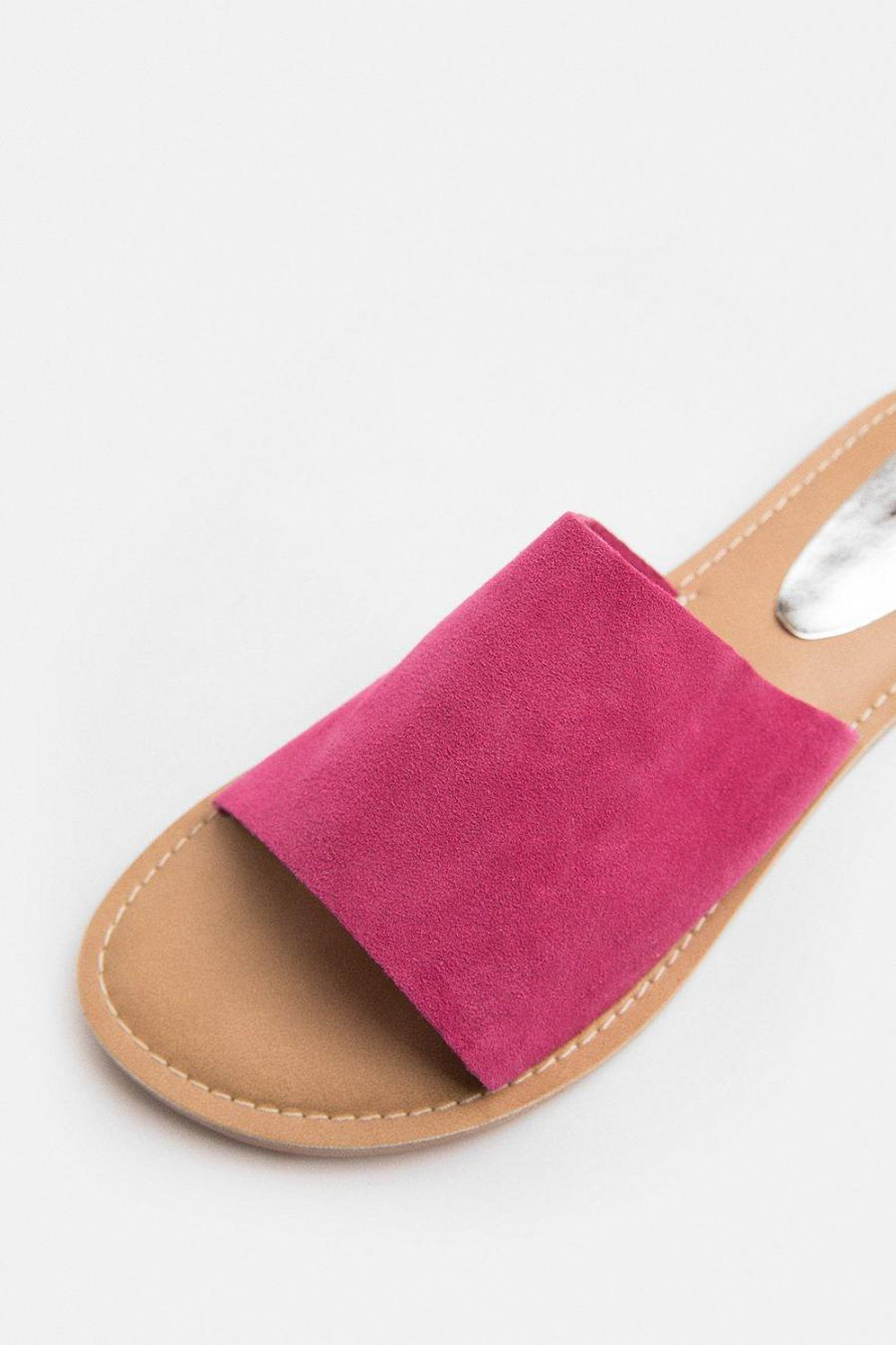 Coast Sandals | Womens Colour Pop Slide On Suede Sandal Pink