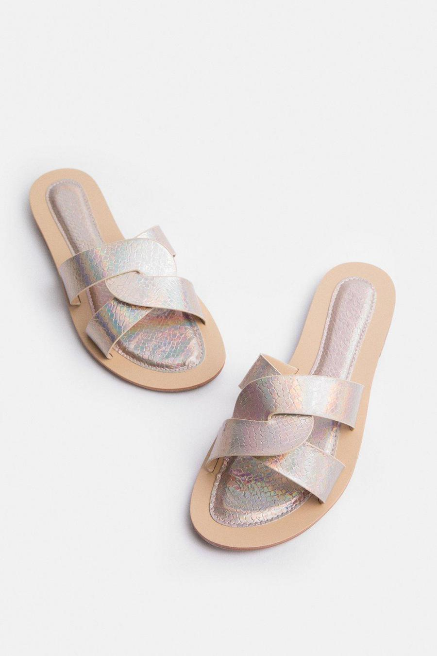 Coast Sandals | Womens Holographic Twist Flat Sandal Gold