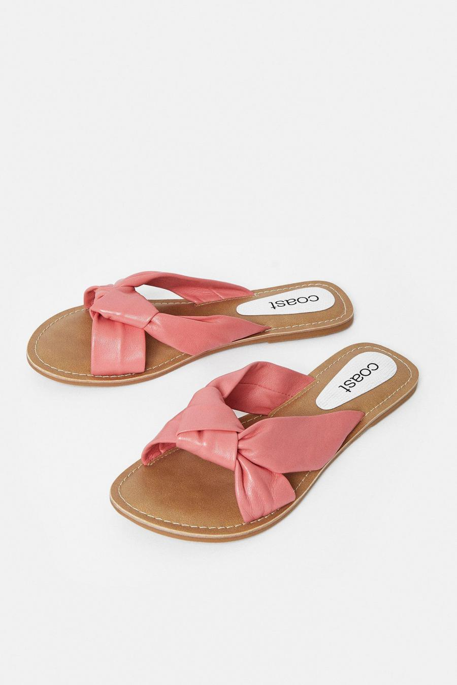 Coast Sandals   Womens Knot Front Flat Sandal Coral