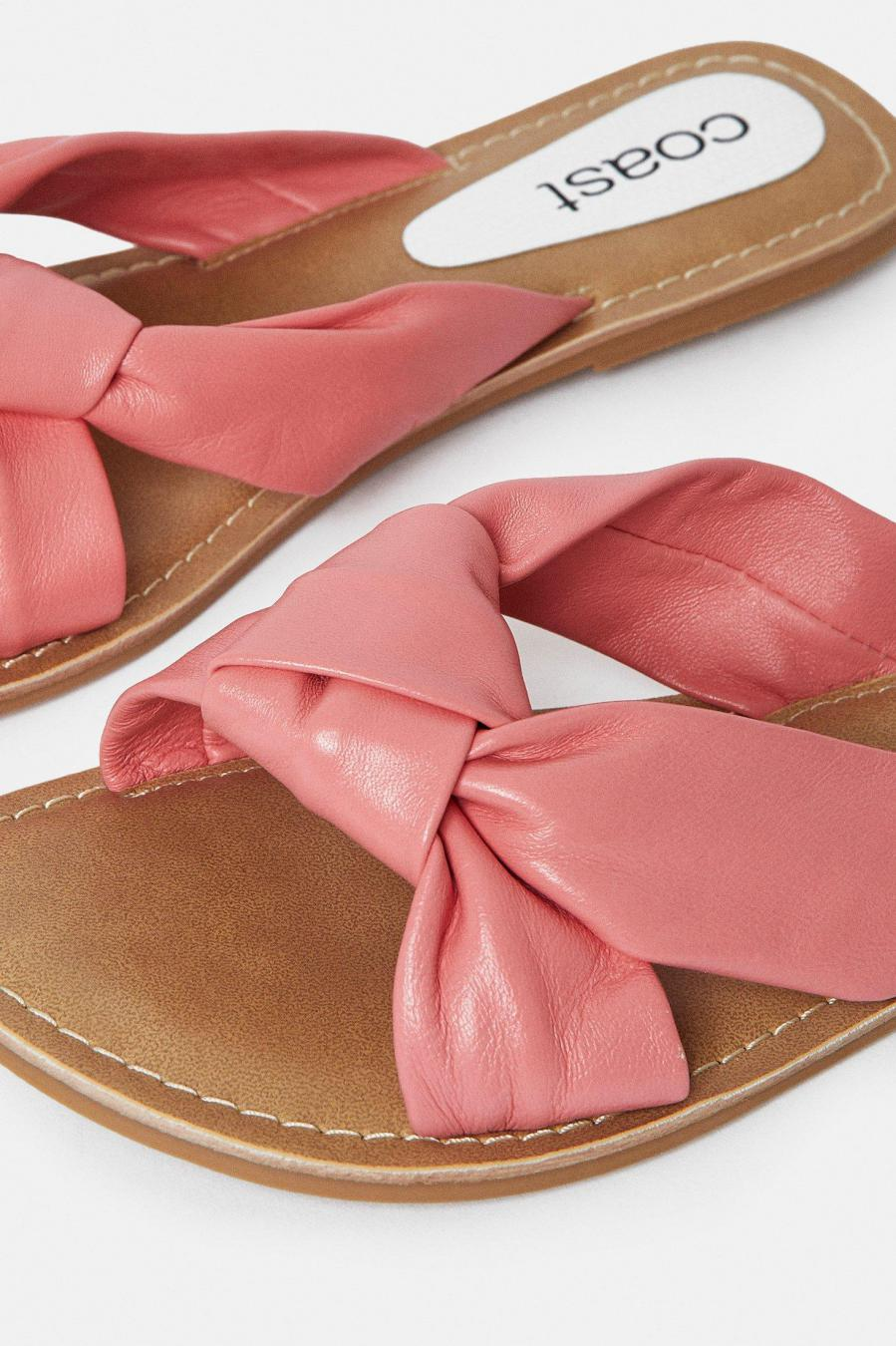 Coast Sandals | Womens Knot Front Flat Sandal Coral