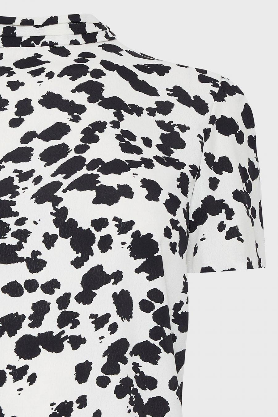 Coast Shell Tops | Womens High Neck Abstract Animal Print Top Ivory