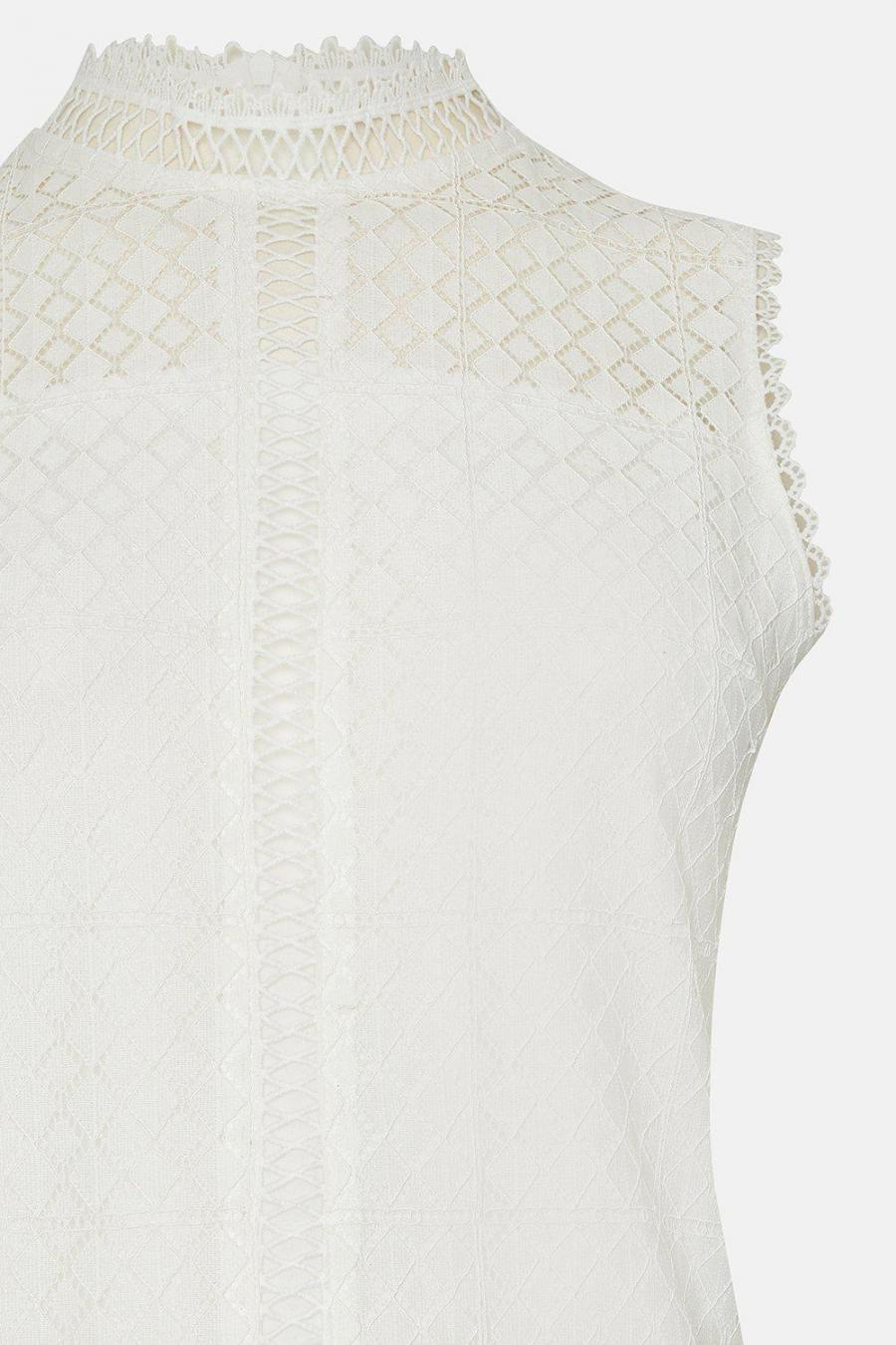 Coast Shell Tops | Womens High Neck Lace Trim Detail Shell Top Ivory