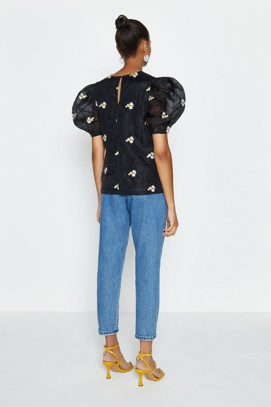 Coast Shell Tops | Womens Puff Sleeve Embroidered Top Black
