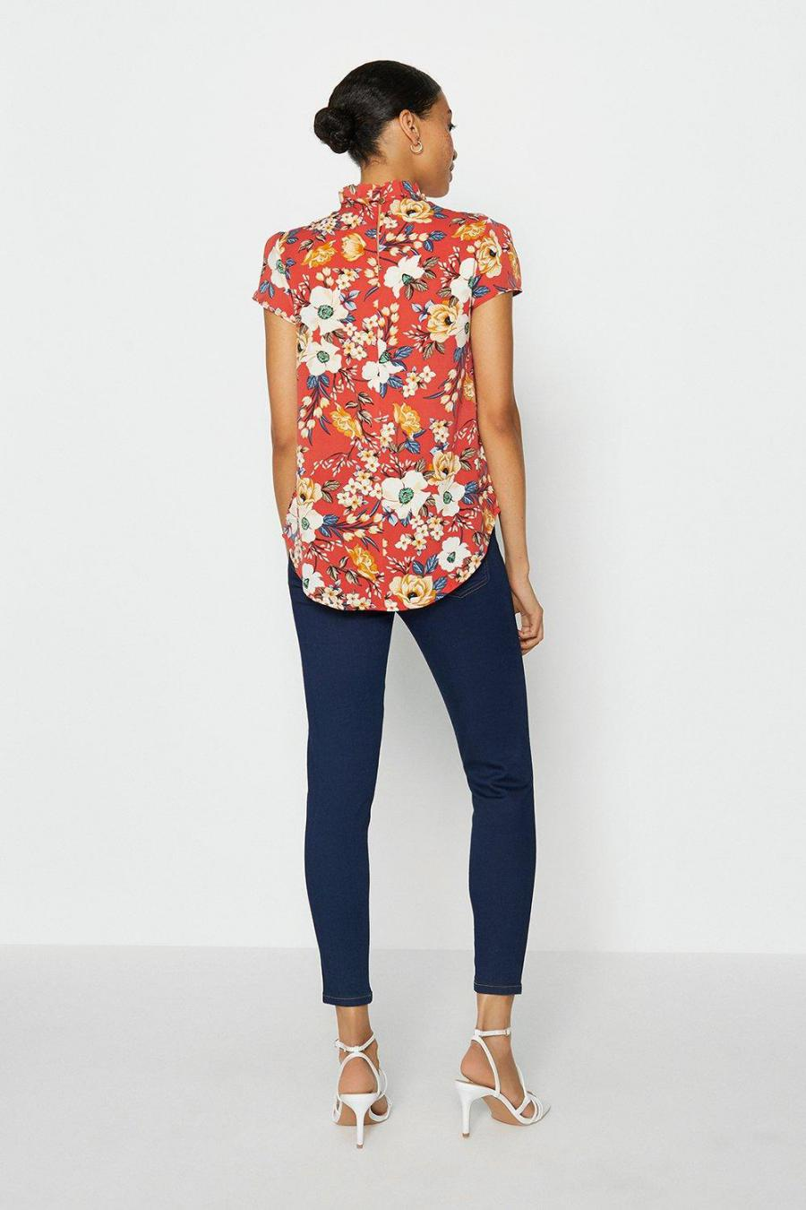Coast Shell Tops   Womens Short Sleeve Frill Neck Top Floral