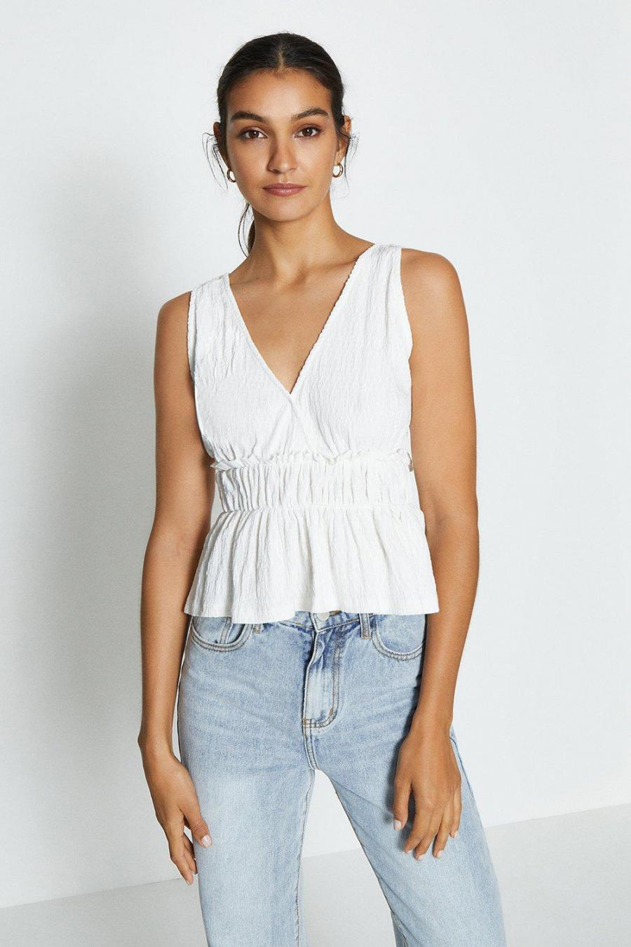 Coast Shell Tops | Womens Sleeveless V-Neck Shirred Waist Top Ivory