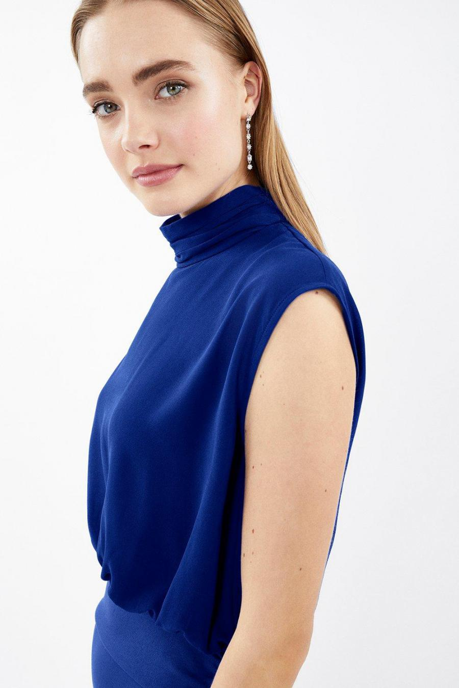 Coast Shift Dresses | Womens High Neck Drape Overlay Dress Cobalt