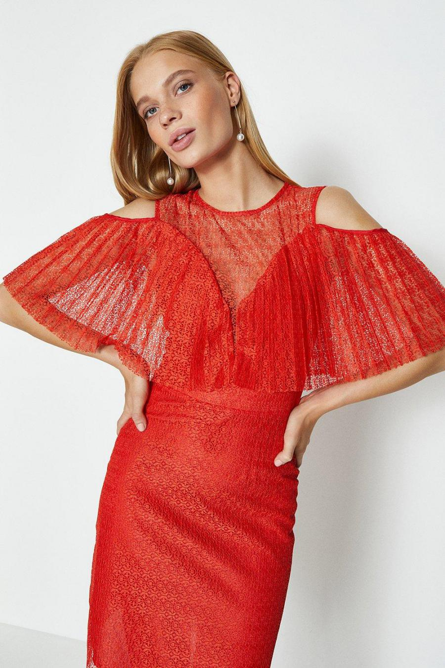 Coast Shift Dresses | Womens Pleated Lace Bodice Short Dress Red
