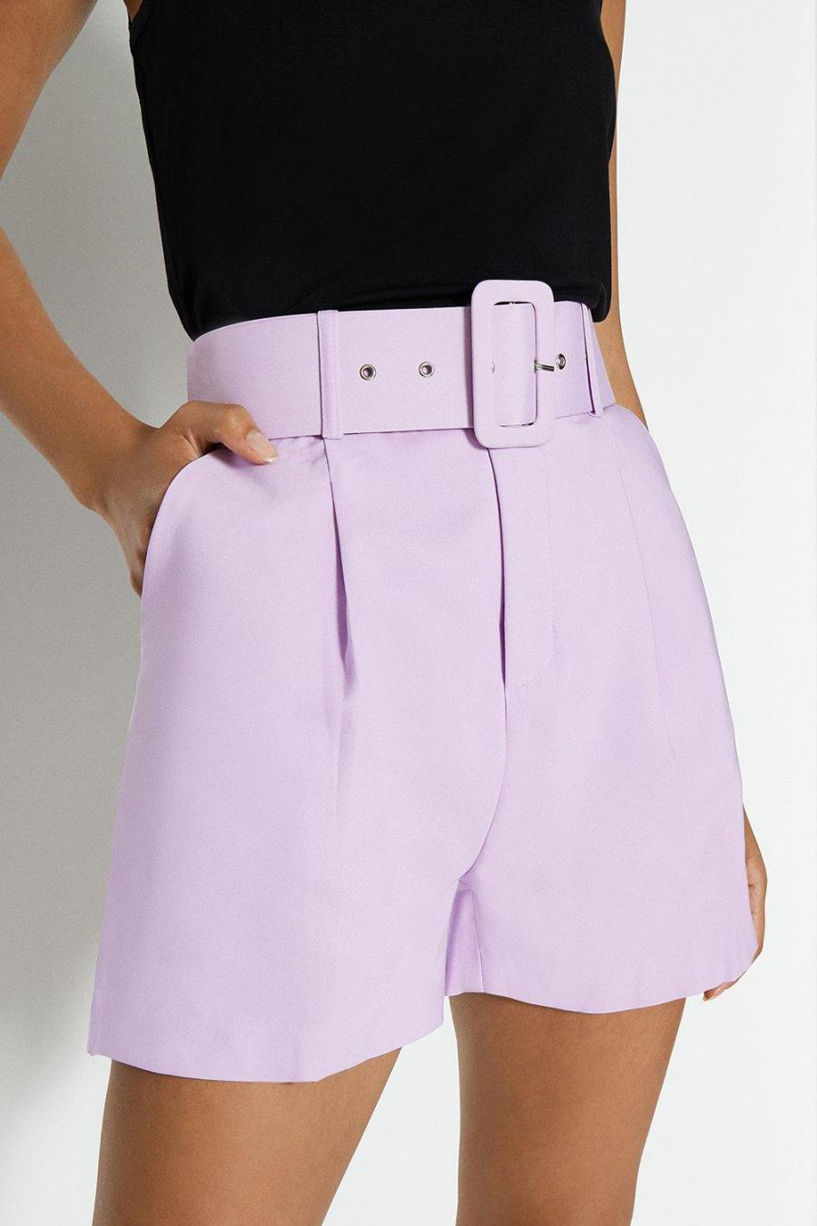 Coast Shorts | Womens Belted Tailored Short Lilac