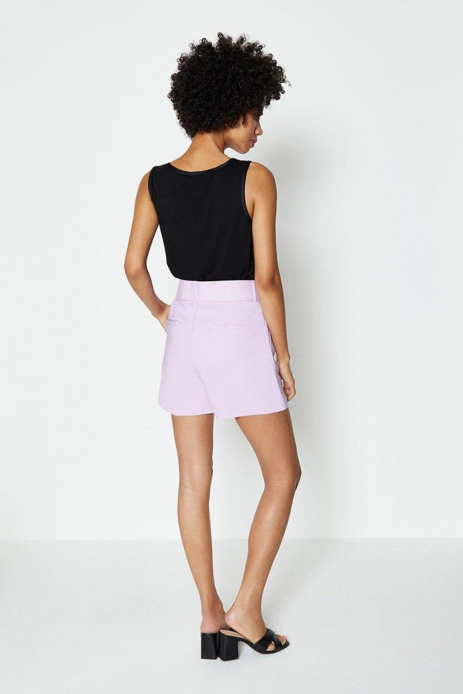 Coast Shorts   Womens Belted Tailored Short Lilac