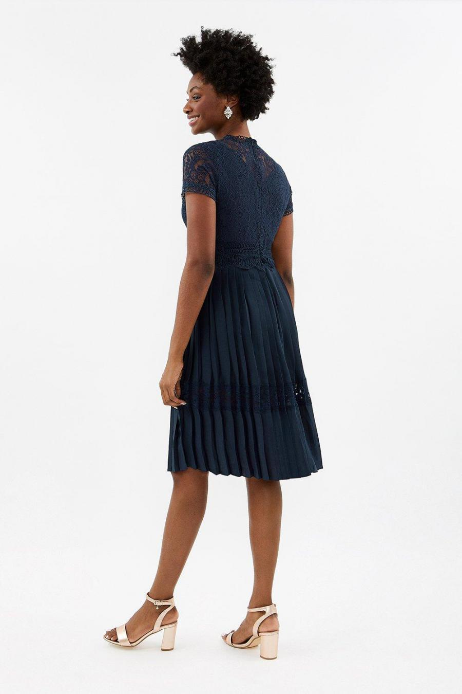 Coast Skater Dresses | Womens Lace Bodice Pleat Skirt Dress Navy