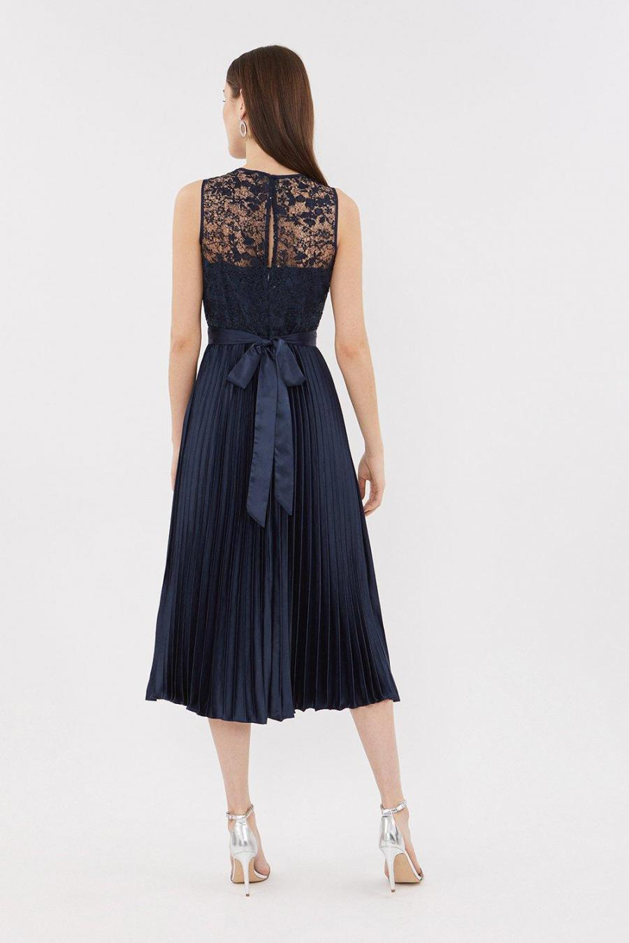 Coast Skater Dresses | Womens Lace Bodice Pleat Skirt Midi Dress Navy