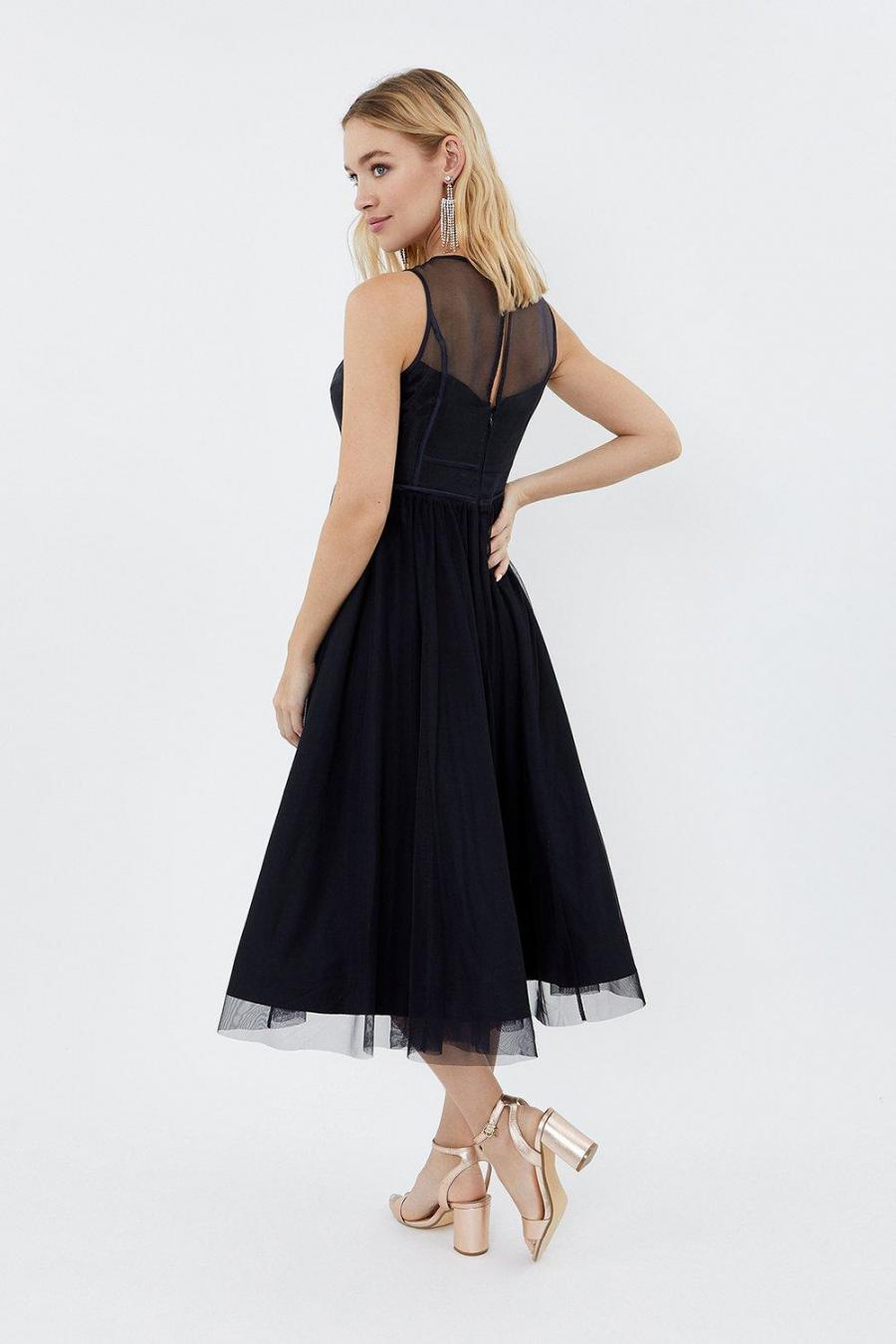 Coast Skater Dresses | Womens Sleeveless Organza Tulle Midi Dress Navy