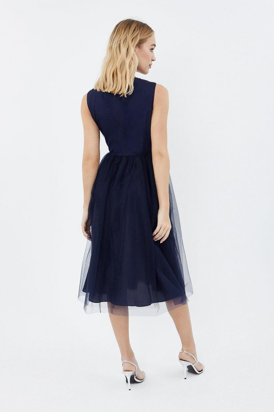 Coast Skater Dresses | Womens Tulle Ruched Bodice Midi Dress Navy