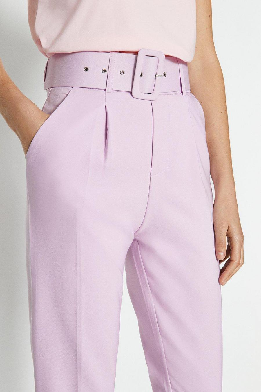 Coast Straight Trousers | Womens Belted Tailored Trouser Lilac