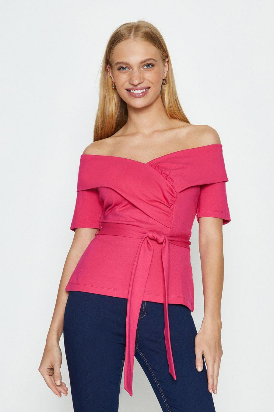 Coast Structured Tops   Womens Bardot Tie Front Ponte Top Pink