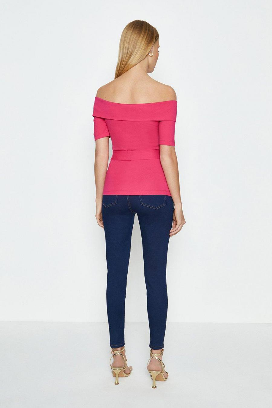 Coast Structured Tops | Womens Bardot Tie Front Ponte Top Pink