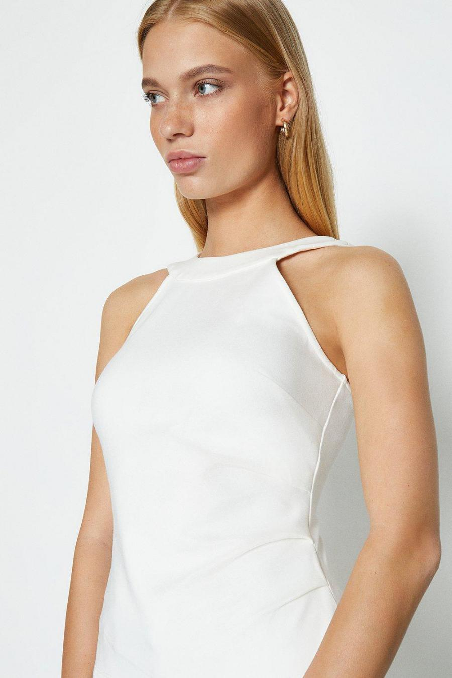Coast Structured Tops   Womens HalterNeck Top Ivory