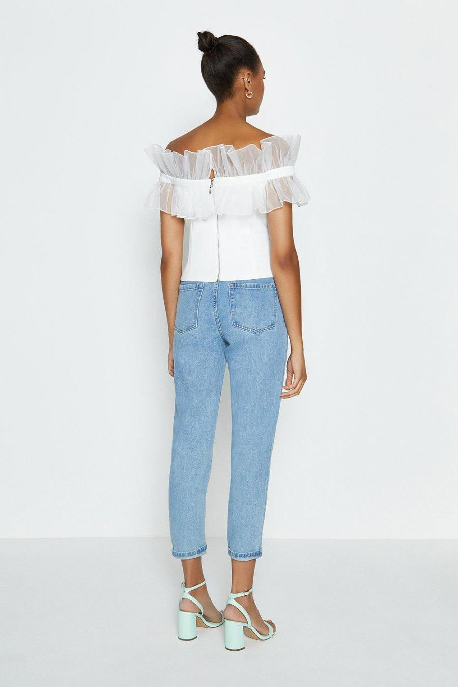 Coast Structured Tops | Womens Organza Ruffle Bardot Top Ivory