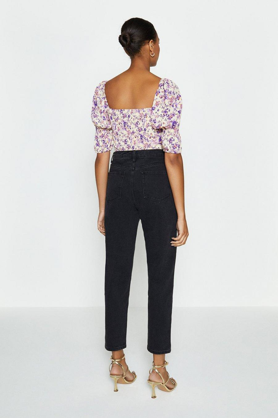Coast Structured Tops | Womens Puff Sleeve Ruched Front Top Lilac