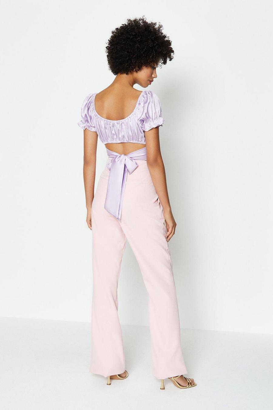 Coast Structured Tops   Womens Ruched Detail Bow Back Top Lilac