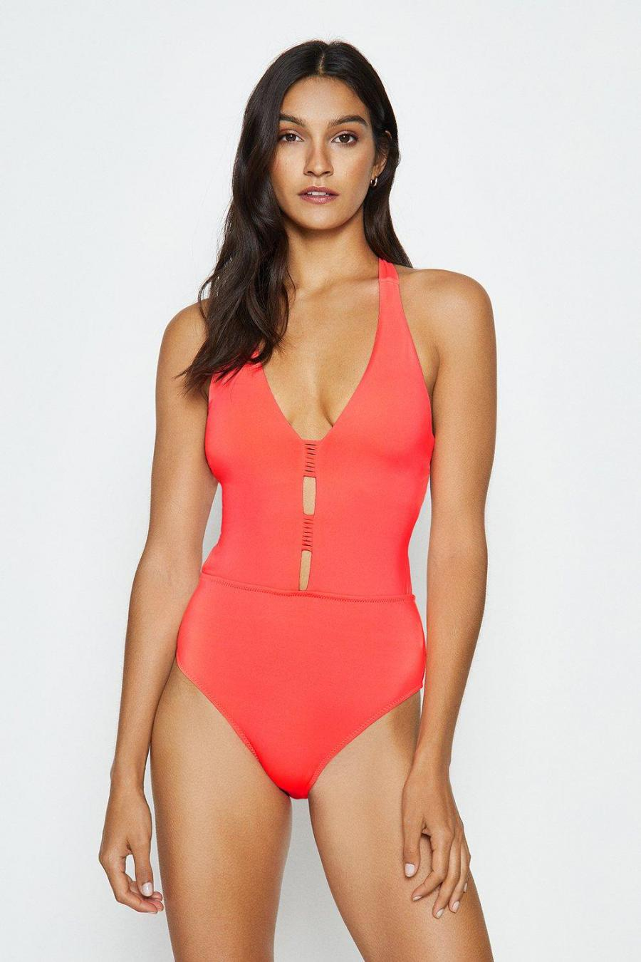 Coast Swimsuits   Womens Deep V Strappy Back Swimsuit Coral