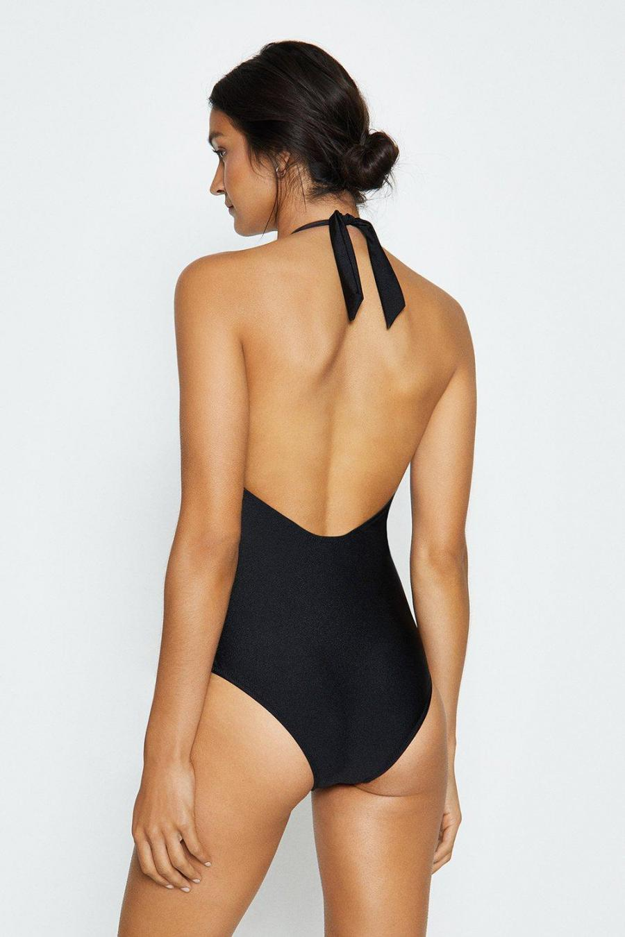 Coast Swimsuits | Womens Lace Up Bottom Swimsuit Black