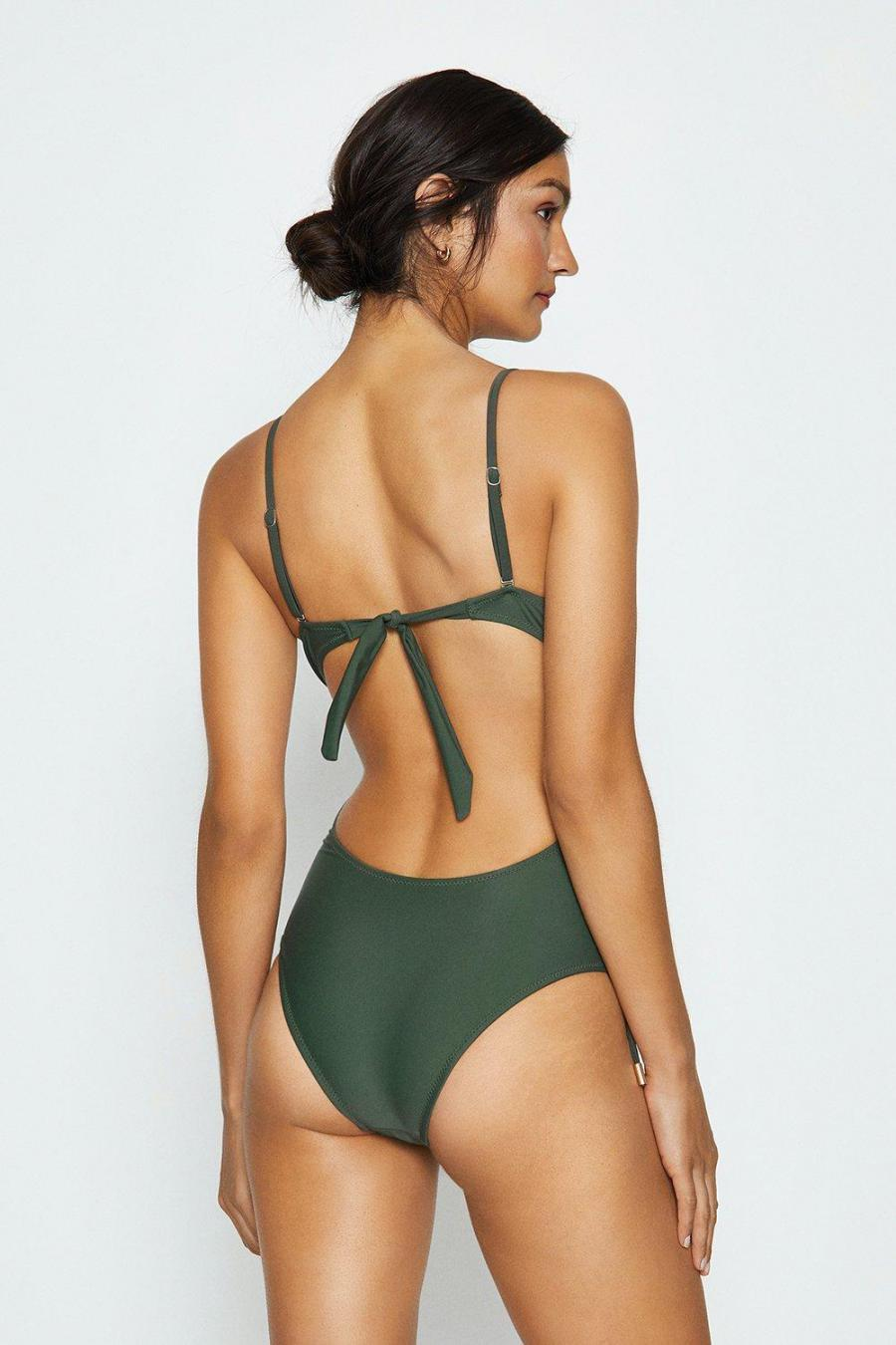 Coast Swimsuits | Womens Lace Up Swimsuit Olive