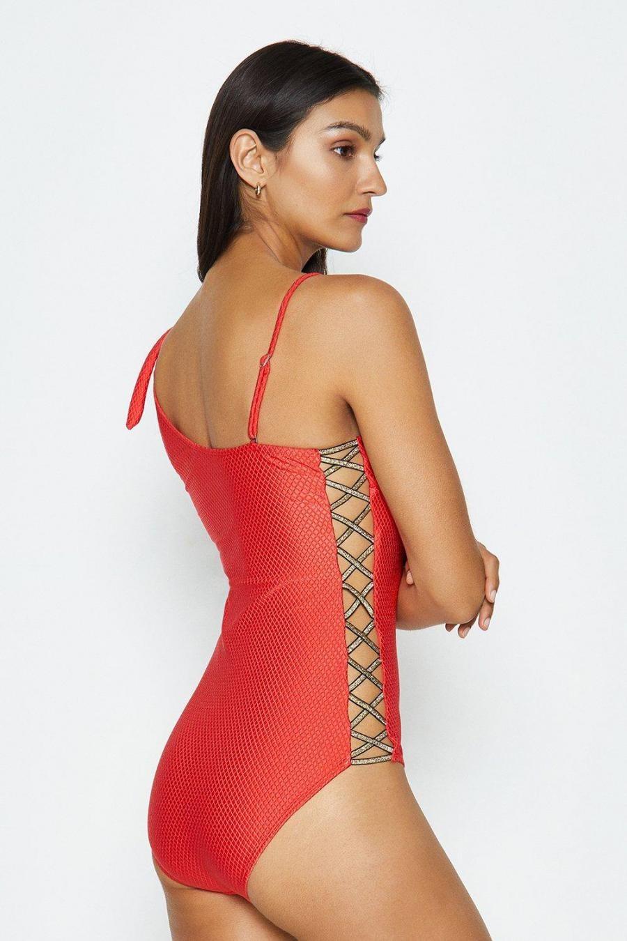 Coast Swimsuits | Womens One Shoulder Swimsuit Coral